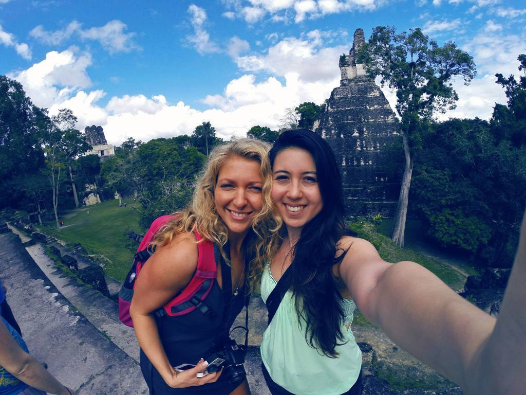 GoPro selfie of Liz and myself at the Mayan ruins in Belize.