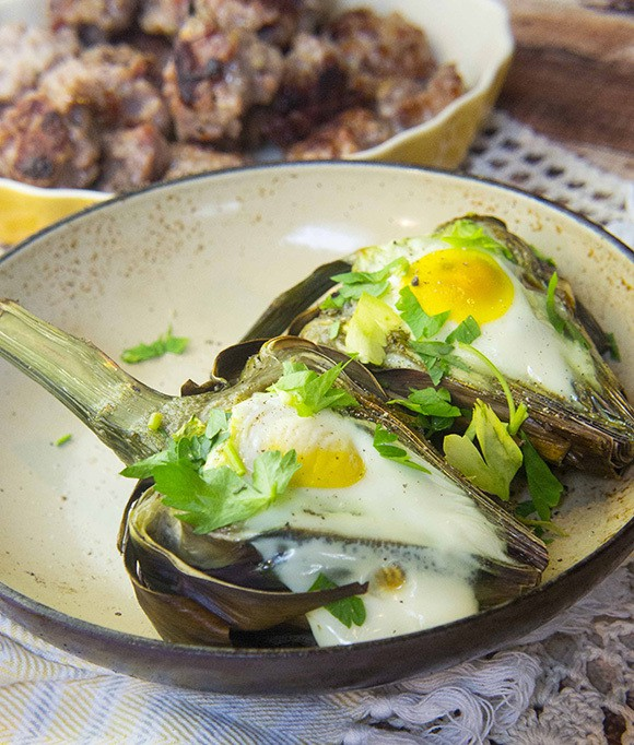 Paleo Breakfast Recipe - Eggs Baked in Artichokes