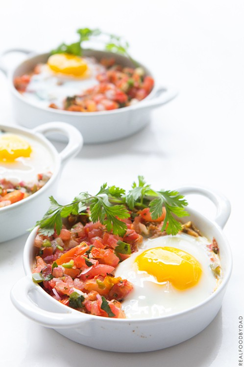 Paleo Breakfast Recipe - Shredded Chicken with Baked Eggs and Salsa