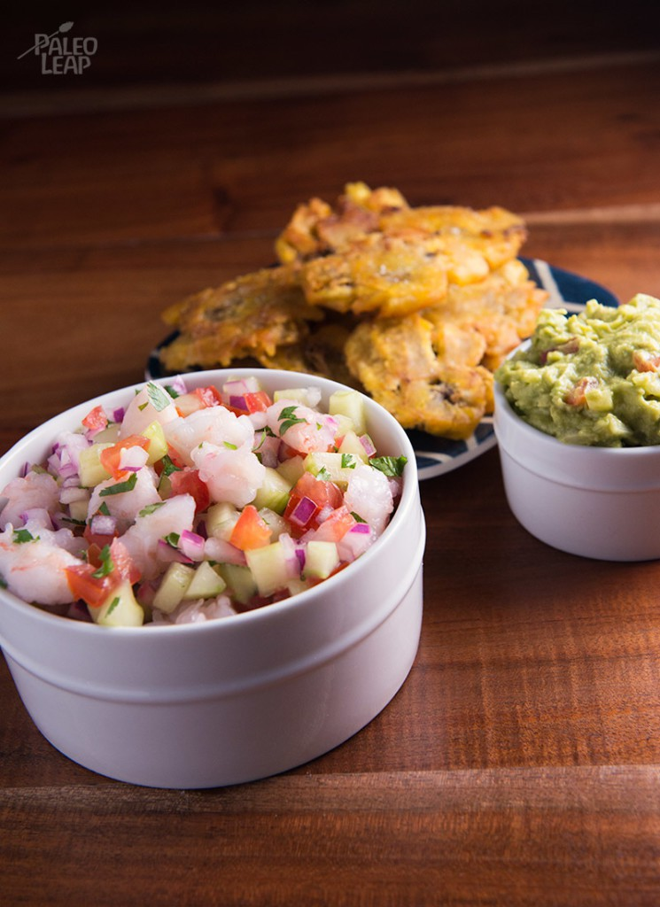 Paleo shrimp ceviche with tostones
