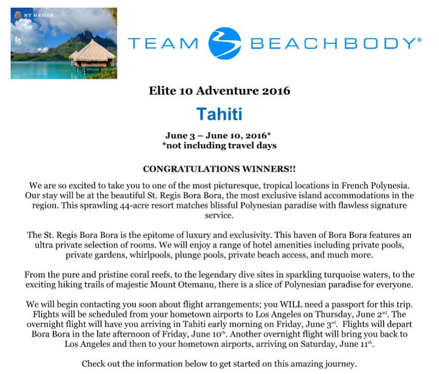 Free trip to Tahiti from Beachbody